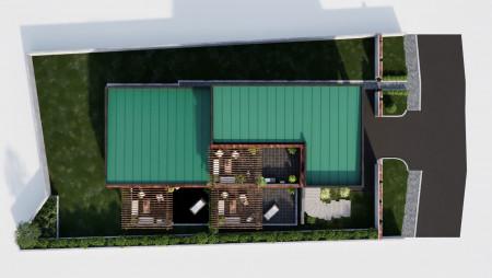 3D vizualizácia rodinného domu so záhradou. pohľad z hora