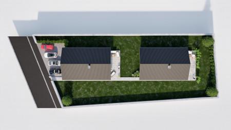 3D vizualizácia dvojice rodinných domov so záhradou, pohľad z hora