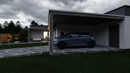 3D vizualizácia rodinného domu v chladnom počasí podvečer